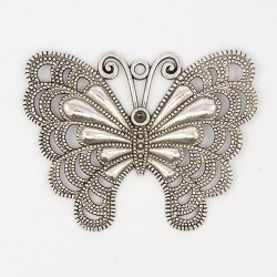 Pendentif breloque en métal Grand Papillon argenté