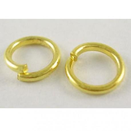 Anneau brisé rond, 5 mm diamètre, doré x10
