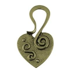 Pendentif breloque en métal coeur arabesque, bronze antique