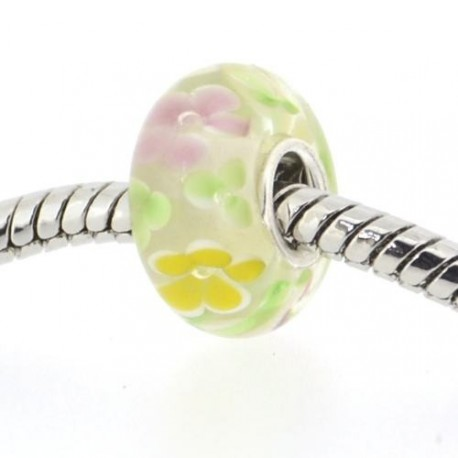 Perle de verre style Pandora noyau argent 925 fleurie jaune - à l'unité