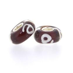 Perle de verre style Pandora noyau argent 925 rouge impression blanche - à l'unité