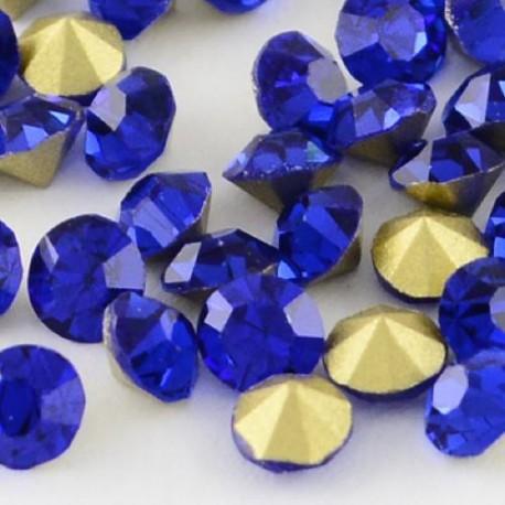 Strass imitation diamant, rond 4 mm, bleu foncé x 10