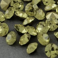 Strass imitation diamant, rond 4 mm, jaune pâle x 10