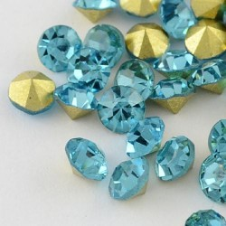 Strass imitation diamant, rond 4 mm, aquamarine x 10