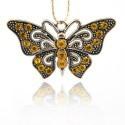 Pendentif breloque en métal Papillon, strass oranges, argenté