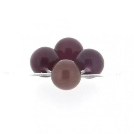 Perle Oeil de Chat Violette, ronde 6 mm - à l'unité