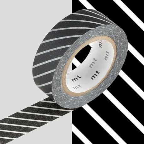 Masking Tape Rayures noires - 15 mm x 10 m