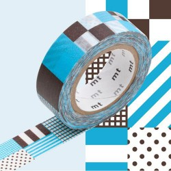 Masking Tape Rayés carré mix blue - 15 mm x 10 m