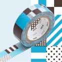 Masking Tape Rayés carré mix blue - 15 mm x 10 m