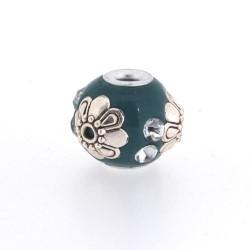 Perle kashmiri turquoise, laiton argenté, ronde 14 mm - à l'unité