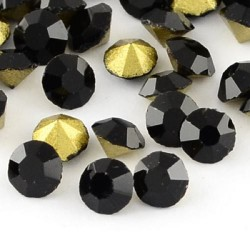 Strass imitation diamant, rond 3 mm, noir x 10