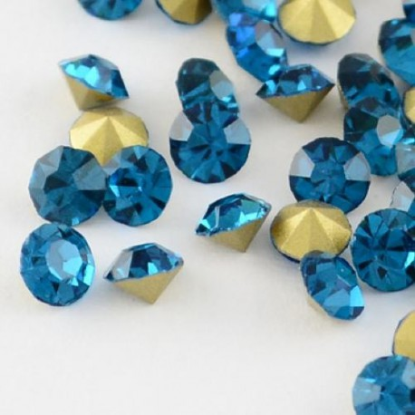 Strass imitation diamant, rond 3 mm, bleu x 10