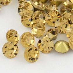 Strass imitation diamant, rond 3 mm, topaze x 10