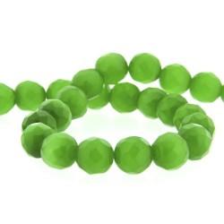 Perle Oeil de Chat verte, facettes, ronde 12 mm - à l'unité