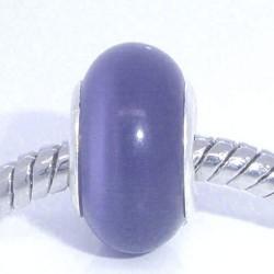 Perle de verre oeil de chat violet style Pandora - à l'unité
