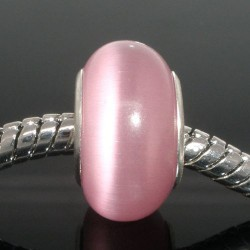 Perle de verre oeil de chat rose style Pandora - à l'unité