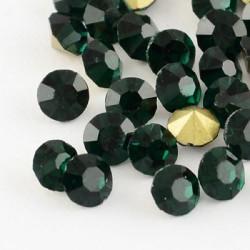 Strass imitation diamant, rond 4 mm, émeraude x 10