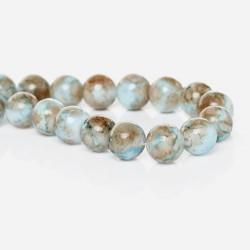 Perle de verre ronde turquoise marron, 10 mm