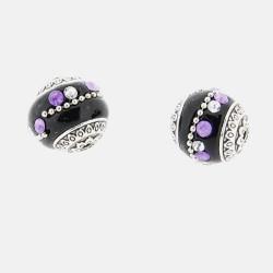 Perle kashmiri noire et violet, laiton argenté, ronde 19 mm - à l'unité