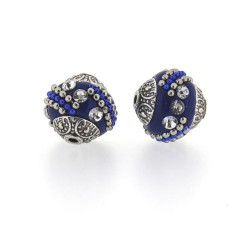 Perle kashmiri bleue, laiton argenté, ronde 15 mm - à l'unité