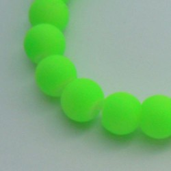 Perle de verre caoutchouc verte néon, 8 mm