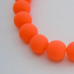 Perle de verre caoutchouc orange néon, 8 mm