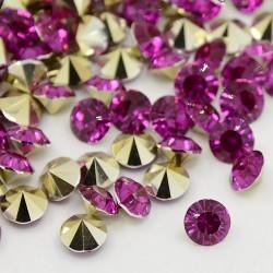 Strass imitation diamant, rond 3 mm, pourpre x 10