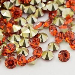 Strass imitation diamant, rond 4 mm, rouges orangés x 10
