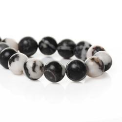 Perle de verre imitation Jade blanche et noire, 10 mm