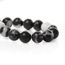 Perle de verre imitation Jade blanche et noire, 8 mm