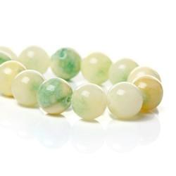 Perle de verre imitation Jade beige et verte, 10 mm