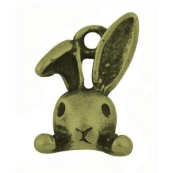 Pendentif breloque en métal petit lapin, bronze