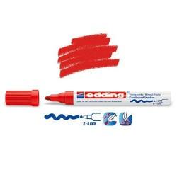 Marqueur satin mat pour surfaces poreuses, Rouge pointe 2-4 mm