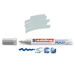 Marqueur satin mat pour surfaces poreuses,  Argent pointe 2-4 mm