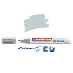 Marqueur satin mat pour surfaces poreuses, Argent pointe 1-2 mm