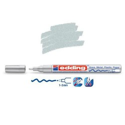 Marqueur sur verre - peinture brillante Argent pointe 1-2 mm