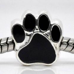 Métal Patte d'animaux émail noir style Pandora - à l'unité