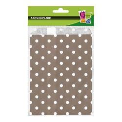 12 sacs en papier à pois gris 13 x 19 cm