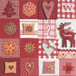Serviettes en papier patchwork rouge et blanc