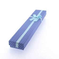Boîte rectangulaire à pois bleue 21 x 4,2 cm