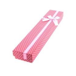 Boîte rectangulaire à pois rose 21 x 4,2 cm