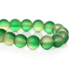 Perle de verre ronde verte opaque, 8 mm