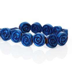 Perle hématite naturelle, fleur bleue 12mm