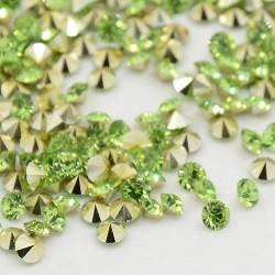 Strass imitation diamant, rond 6 mm, vert x 10