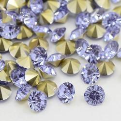 Strass imitation diamant, rond 6 mm, parme x 10