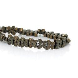 Perle hématite naturelle, forme papillon bronze 6mm