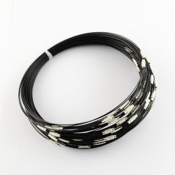 Collier métal couleur noir, 45 cm