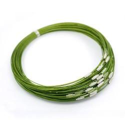 Collier métal couleur vert, 45 cm