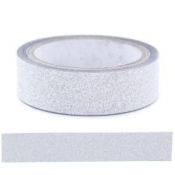 Glitter Tape Argent - 15 mm x 4 m