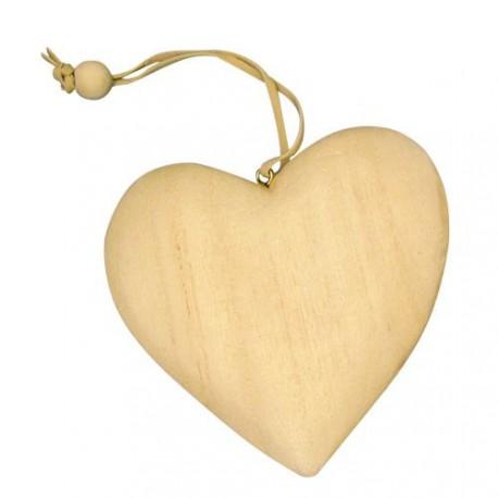 Pendentif en bois Coeur 7 cm